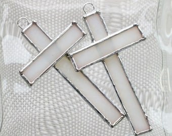 Small Stained Glass Cross Suncatcher or Ornament in Translucent White