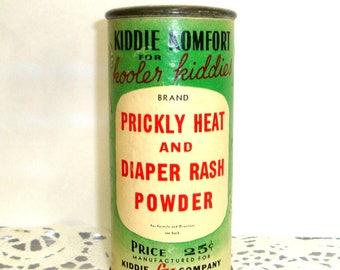 Vintage Kiddie Komfort Powder, Kooler Kiddies, Prickly Heat, Baby Diaper Rash, Talc, Camphor, Photo Prop and Display (763-17)