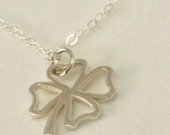Lucky Irish Shamrock, Sterling Silver Four Leaf Clover Necklace, Clover Jewelry, Graduation Gift, Good Luck Necklace, Celtic Birthday