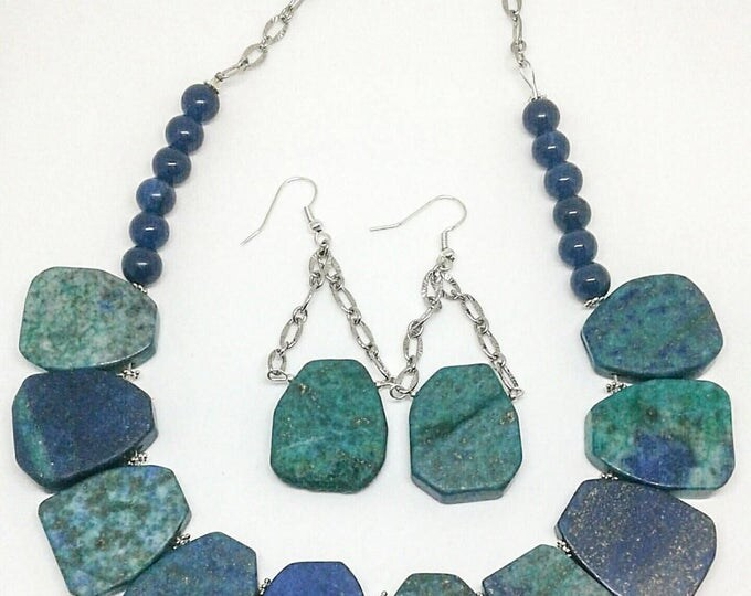 Item # 201731 Versie, Blue Jade, Azurite Malachite Necklace and Earring Set, 18 Inches Long