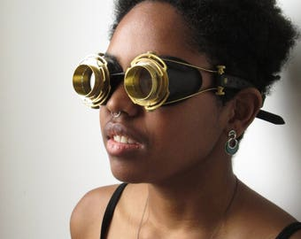 Brass Goggles with Black Leather Motorcycle Goggles Sci-fi LARP Cosplay