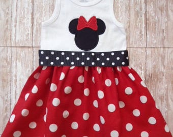 Minnie Mouse Dress, Disney Dress, Girls Red White Dot Dress, Birthday Dress, Girls Dress, Ready To Ship, Size 18M