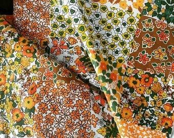 1970s Faux Patchwork Cotton Fabric