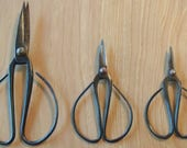 3 Pairs Vintage Rounded Iron Handles Sewing Scissors or Kitchen Shears.