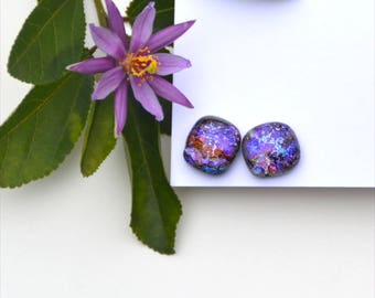285 Fused dichroic glass earrings, sparkle, purple red pink blue