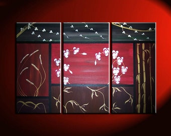 Orchids, Wheat, Cherry Blossoms, Vines and Bamboo Asian Composition Painting Wall Art Home Decor Custom 45x30