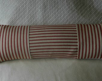 Neck pillow, French Ctry Ticking, Waverly red n white stripes, Other colors available.        .