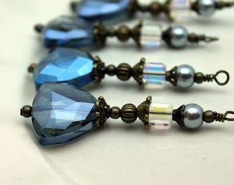 Montanan Blue Triangle Crystal with Square Cube Crystal and Pearl Bead Dangle Charm Drop Pendant Set