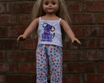 18 Inch Doll Pajamas -18 Inch Doll Clothes-Fits 18 Inch Dolls and perfect for dog lovers too