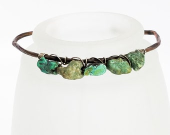 Hammered Copper Bracelet - Chinese Turquoise Nuggets