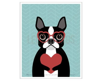 135D Dog Print - Boston Terrier Wearing Red Heart Glasses Wall Art - Funny Dog Art - Dog Wearing Glasses Print - Dog with Heart Valentine