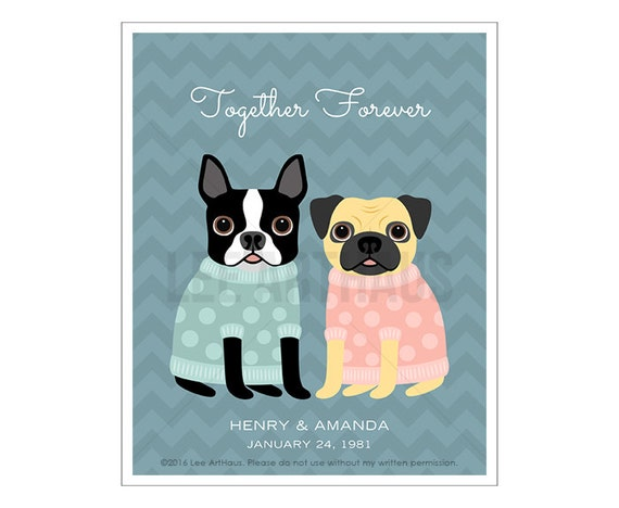 222P Dog Couple Art - Together Forever Boston Terrier and Pug Wall Art - Wedding Gift - Engagement Present - Personalized Wedding Art