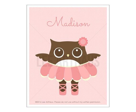 125P Owl Nursery Print - Personalized Ballerina Owl Wall Art - Baby Girl Nursery Wall Art- Custom Name Baby Girl Nursery Wall Art - Owl Art