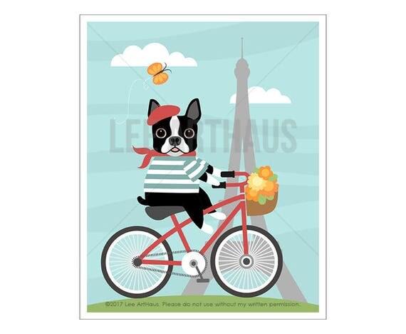 77D Dog Print - Boston Terrier Bicycling in Paris Wall Art - Boston Terrier Print - Bicycle Print - Eiffel Tower Wall Art - Paris Print
