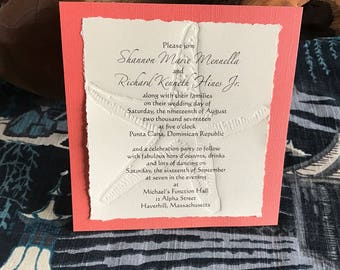 Letterpress Starfish Wedding Invitation with card stock layer