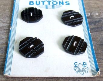 Black Vintage Plastic Sewing Buttons