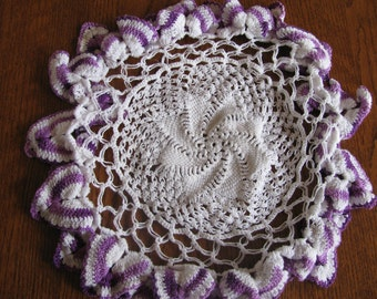 Vintage Crocheted purple and white cottage chic doily, table linen, centerpiece
