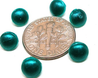 """Tiny BUTTONS, 6 Petite green glass, unused. Doll size 1/4""""."""