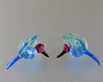 Lampwork Beads-Glass Hummingbird Beads-Ocean Blue and Peacock Green-Hummingbird Beads-RC Art Glass-Lampwork Beads