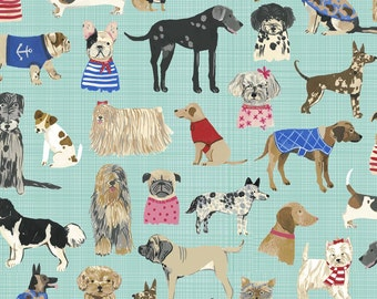 Hot dogs Aqua - Hotdogs & Cool Cats 100% ORGANIC Cotton - Carolyn Gavin  - Windham Fabrics