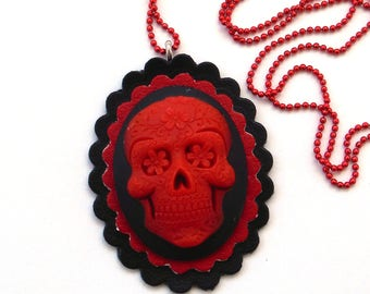 Sugar Skull Cameo Necklace