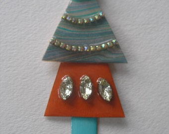 Lg Signed Stephen Dalton Turquoise Adobe Tier Christmas Tree Pin