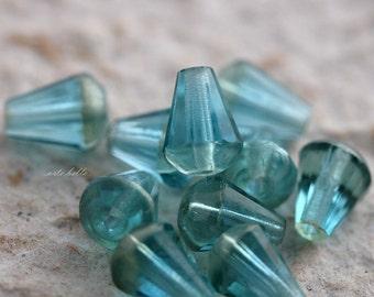 SILVERED AQUA DROPETTES No. 2 .. 10 Picasso Czech Glass Drop Beads 8x6mm (5645-10)