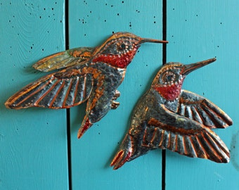 Hummingbird Pair - copper metal flying songbird art sculptures - wall hanging - verdigris blue-green and iridescent red-orange patina - OOAK