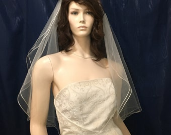 Satin Robbon trimmed two tier  Angel Cut Bridal Veil - available in Short, Elbow, Fingertip and Waltz Length