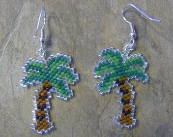 Palm Tree Earrings Hand Made Seed Beaded