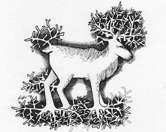 The Spirit of Reindeer Moss - Original Ink Art