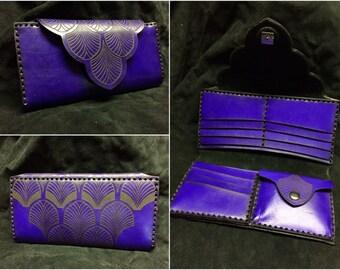 Leather Ladies Wallet Art Deco designed women's purse