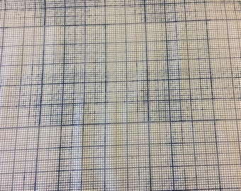 Tim Holtz Fabric by the Yard - Correspondence II - Graph in Blue -Quilter's Cotton