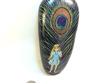PEACOCK FEATHER FAIRY hand painted art rock
