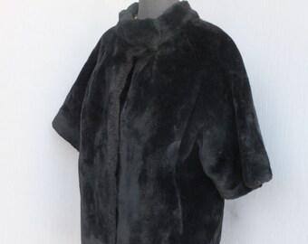 Vintage 60s Plush Faux Fur Jacket, Elbow Sleeve Coat, Faux Fur Coat, Evening Coat, Ladies Dinner Jacket, Hollywood Glamour, Large