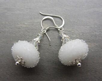 White Snowball Earrings Lampwork Glass Artisan Earrings White Bridal Earrings Sterling Silver SRAJD USA Handmade
