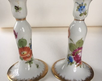 Antique Hand painted Candle Holders-Vintage Haviland. Antiques, Hand Painted, Candle Holders, Candle Sticks, Porcelain, Painted Porcelain,