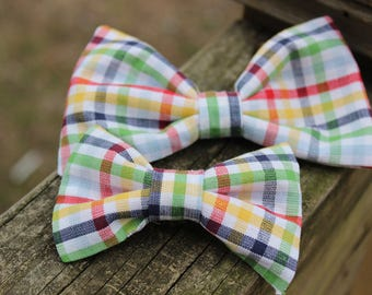 Little Boy Big Boy Bow Tie Clip on Bow Tie Primary Colors