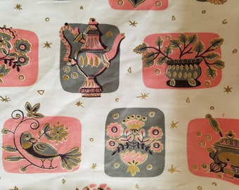 SALE!!  Retro 1950s Cafe Kitchen Curtains PINK and GRAY, Like New, Rare and Wonderful