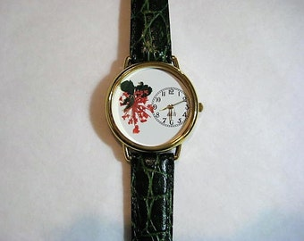 Womens Watch, Pressed Flower Watch, Wrist Watch with Queen Anne Lace and Leather Band, Flower Watch with Queen Anne Lace, Woman Watch