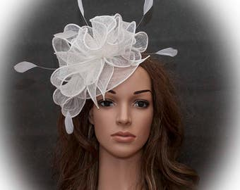 White stunning fascinator for the weddings, races, other special occasions
