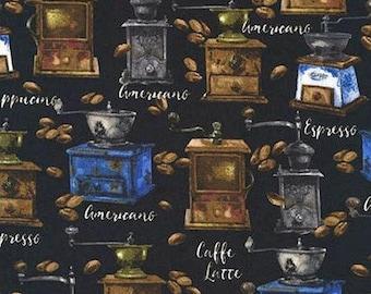 One (1) Yard- Freshly Roasted Coffee Fabric by Robert Kaufman Fabrics AKO-72498-2 Black