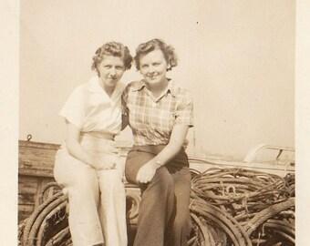 Original Vintage Photograph Women Friends on Deck Cables of Ship St. Paul 1930s