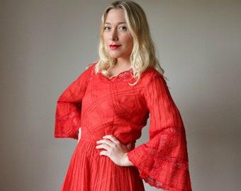 1970s Crimson Pleat Mexican Dress >>> Size Small to Medium