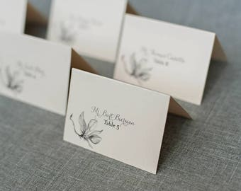 Black and White Unique Floral Place Cards | Flower Escort Cards | Adrianna & Dwayne