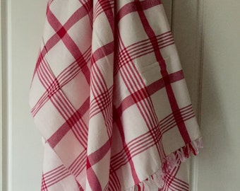 Red stripe handwoven Tablecloth 6 chairs cotton offwhite beige rectangle