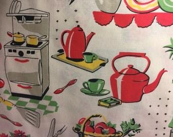 "Retro Vintage Kitchen Stove Dishes New Window Curtain Valance 42""W x 15""L"