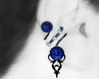 Dark Blue Swarovski Ear Cuff, No Piercing Needed, Blue Swarovski Pearls, Steampunk Cuff, Cartilage Earring, Crystal Jewelry, Skylla III v3