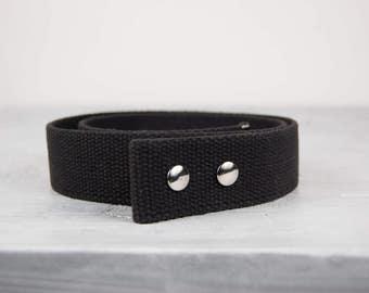 "Black Waxed Cotton Belt - 1.5"" Snap Belt"