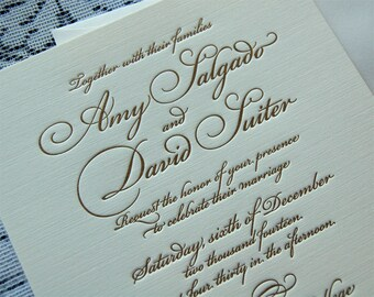 Letterpress Wedding Invitation Sample, Wedding Invitation, Gold Wedding Invitation, Invitation Suite, Wedding Invitations, Script Invitation